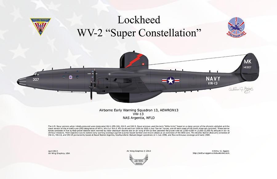 Lockheed Digital Art - Lockheed Wv-2 Super Constellation Aewron13 by Arthur Eggers