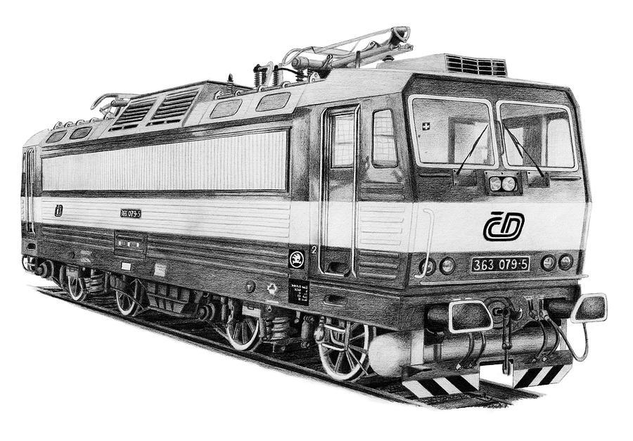 Locomotive Drawing - Locomotive 363 by Milan Surkala