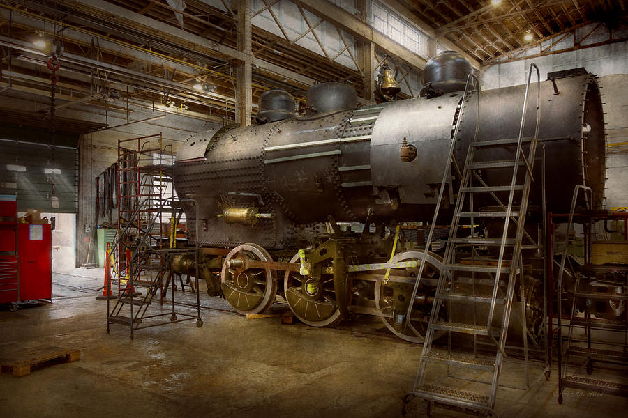Train Photograph - Locomotive - Repairing History by Mike Savad
