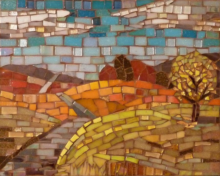 Hills Glass Art - Loess Hills by Julie Mazzoni