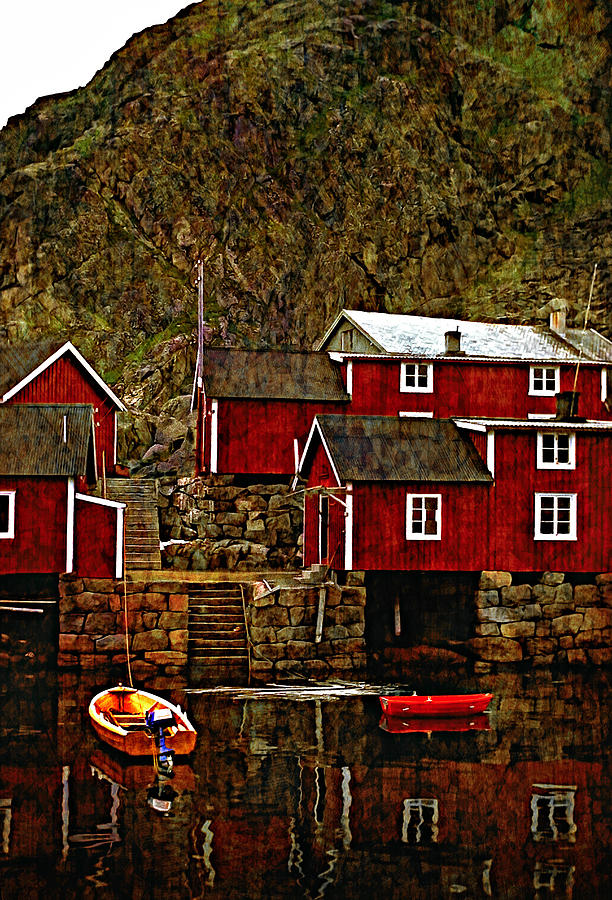 Lofoten Photograph - Lofoten Fishing Huts Overlay Version by Steve Harrington