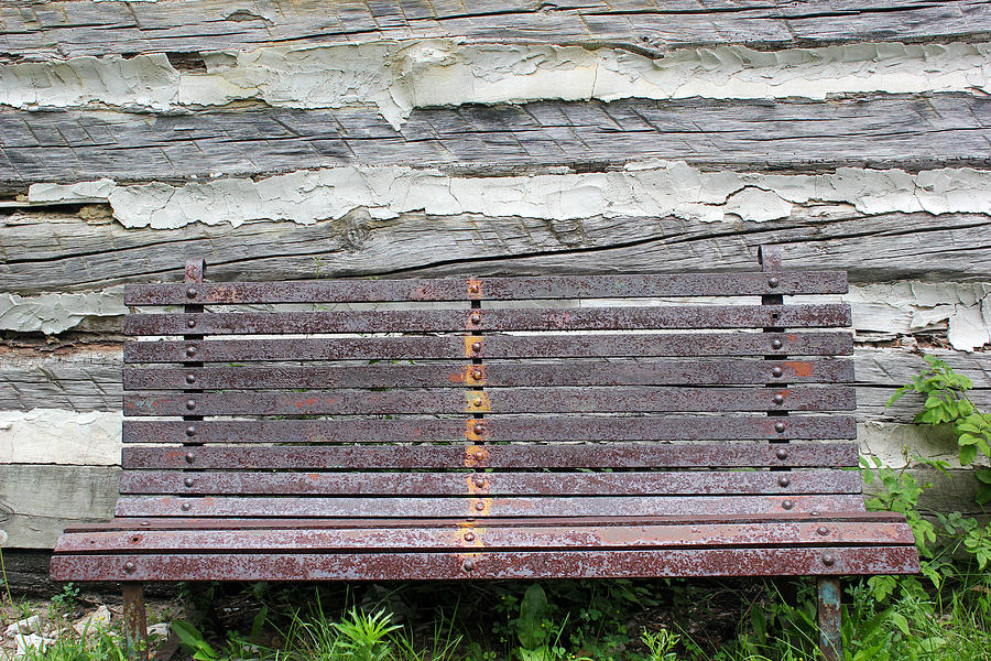 Bench Photograph - Log Cabin Bench 1 by Mary Bedy