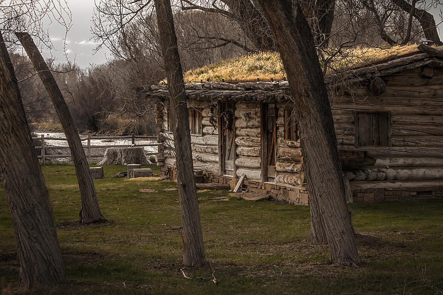 Log Photograph - Log Cabin By The River by David Kehrli