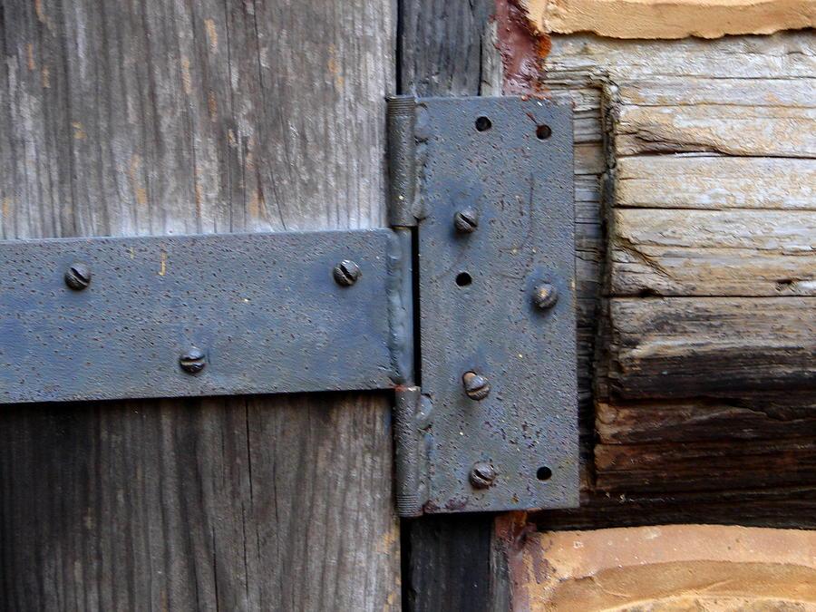 Door Photograph - Log Cabin Door Hinge by Lew Davis