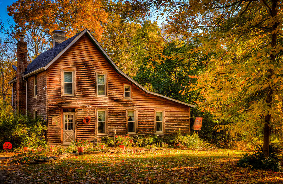 Log Cabin In The Fall Photograph By Keith Allen