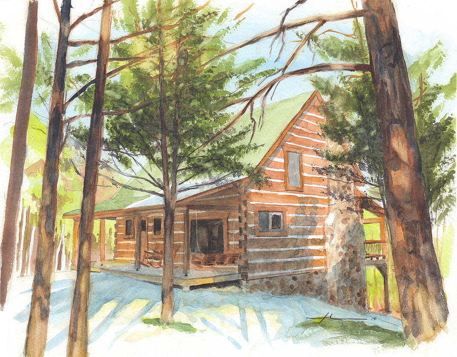 Log Cabin In The Woods Watercolor Portrait Drawing by Mike Theuer
