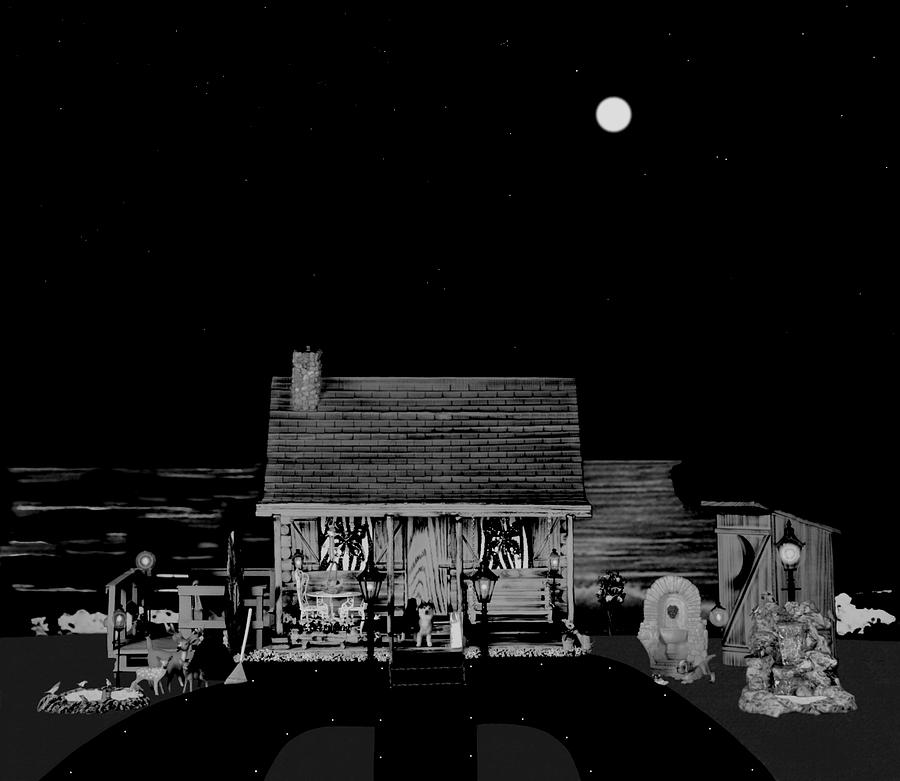 Og Cabin Photograph - Log Cabin Scene Near The Ocean At Midnight In Black And White by Leslie Crotty