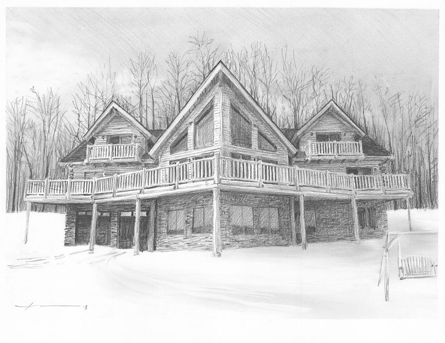 Log Cabin Pencil Portrait Painting by Mike Theuer