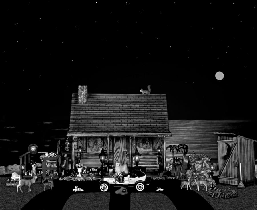 Log Cabin Photograph - Log Cabin Scene In Black And White With Old Time Classic 1908 Model T Ford by Leslie Crotty