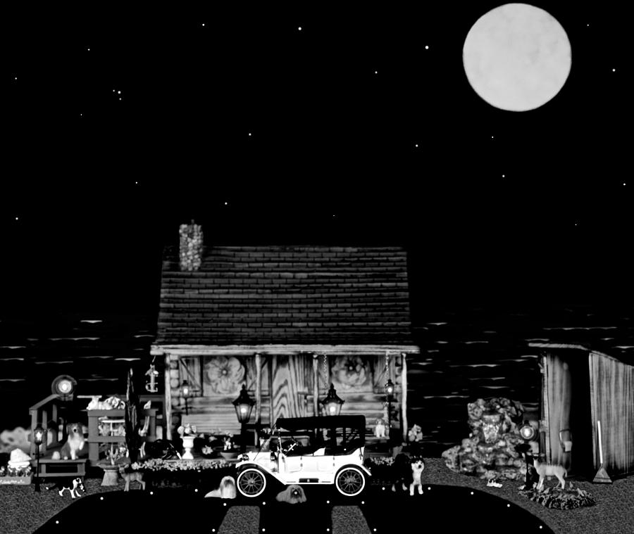 Log Cabins Photograph - Log Cabin Scene  With The Old Vintage Classic 1913 Buick Model 25 In Black And White by Leslie Crotty