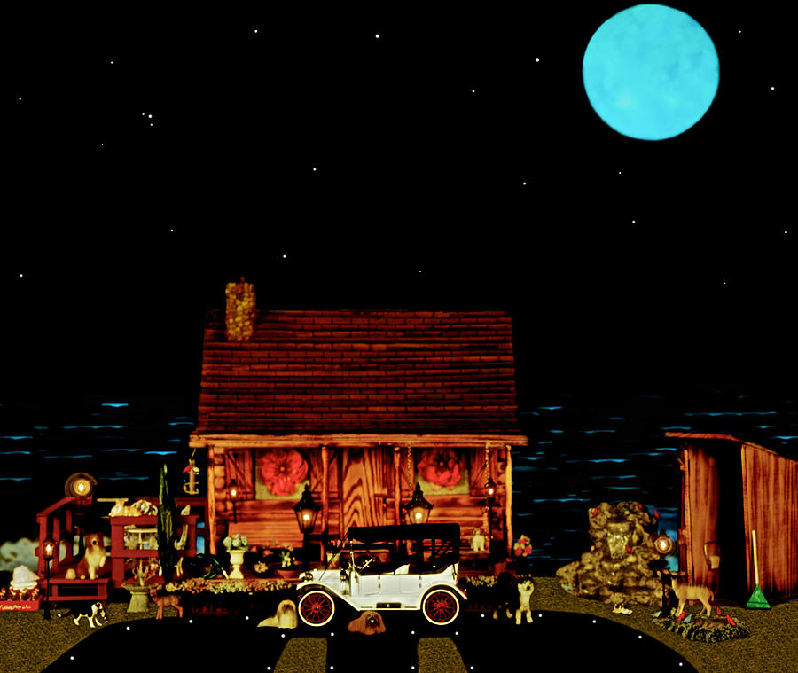 Log Cabins Photograph - Log Cabin Scene  With The Old Vintage Classic 1913 Buick Model 25 In Color by Leslie Crotty