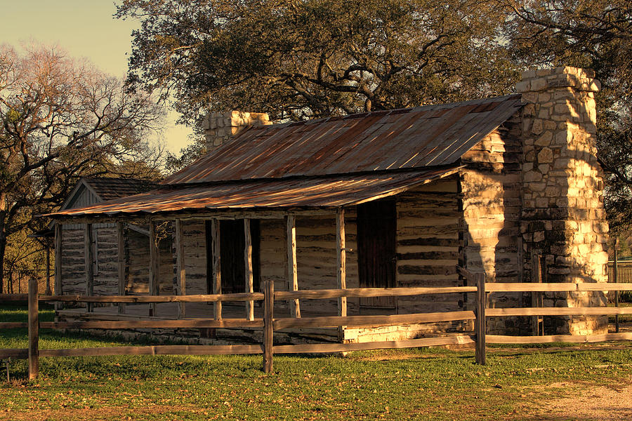 Artitecture Photograph - Log Cabins In Sunset by Linda Phelps