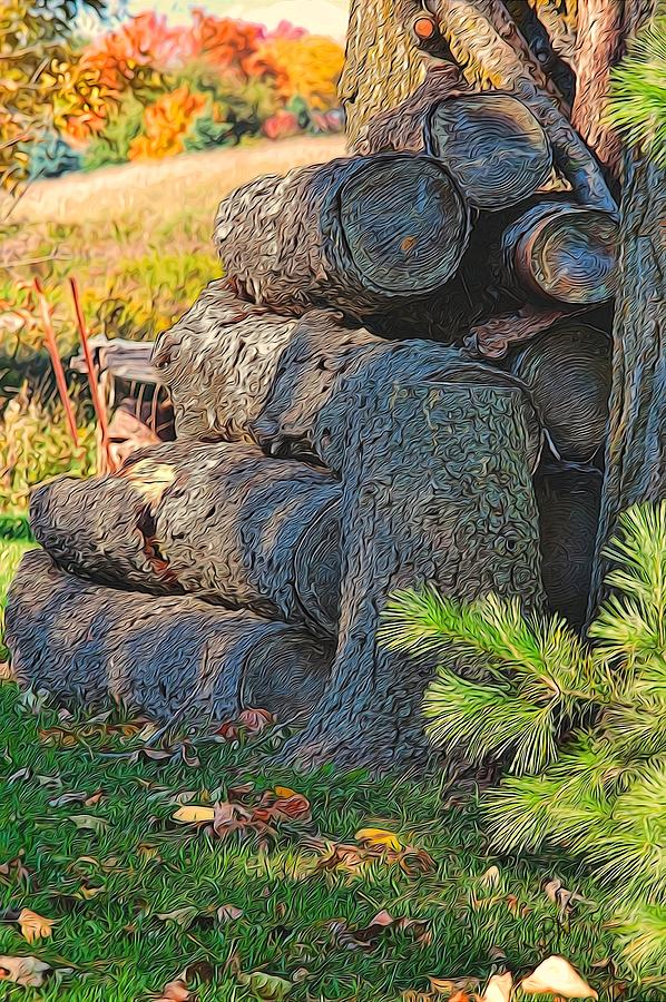 Trees Painting - Log Pile by Peter Jackson