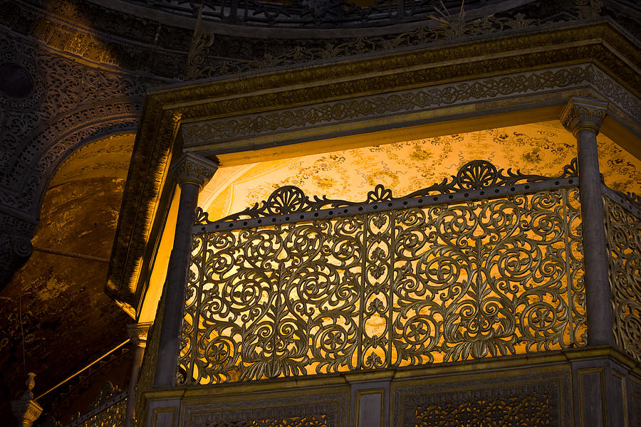 Hagia Photograph - Loge Of The Sultan In Hagia Sophia  by Artur Bogacki