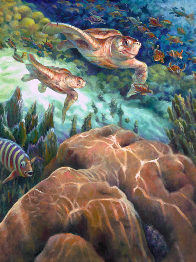 Turtle Painting - Loggerhead Sea Journey I by Nancy Tilles