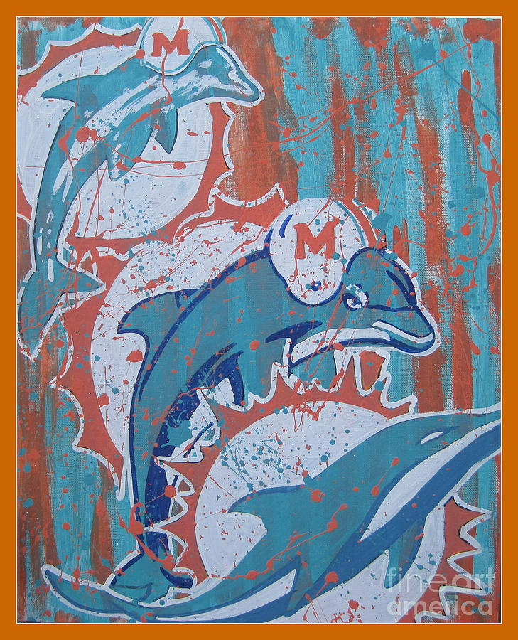 Dolphins Painting - Logo Evolution by Gary Niles