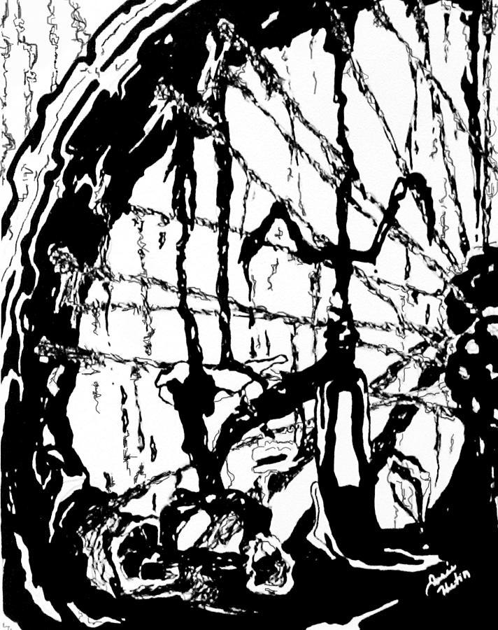 Artiste Josee Hatin Drawing - Lointain by Hatin Josee