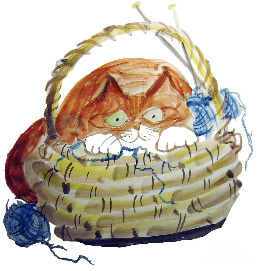 Yarn Painting - Lois Hides In The Basket Of Knitting by Ellen Miffitt