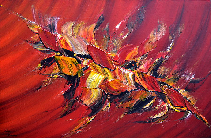 Abstract Painting - Loiseau De Feu by Thierry Vobmann