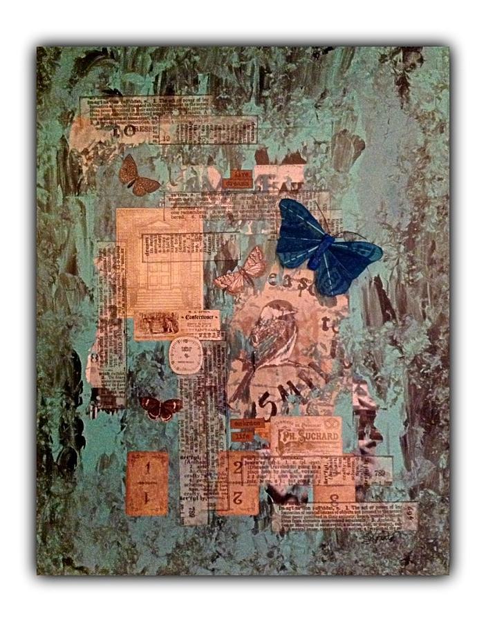 Loiseau Et Les Papillons Mixed Media by Schroder Konate