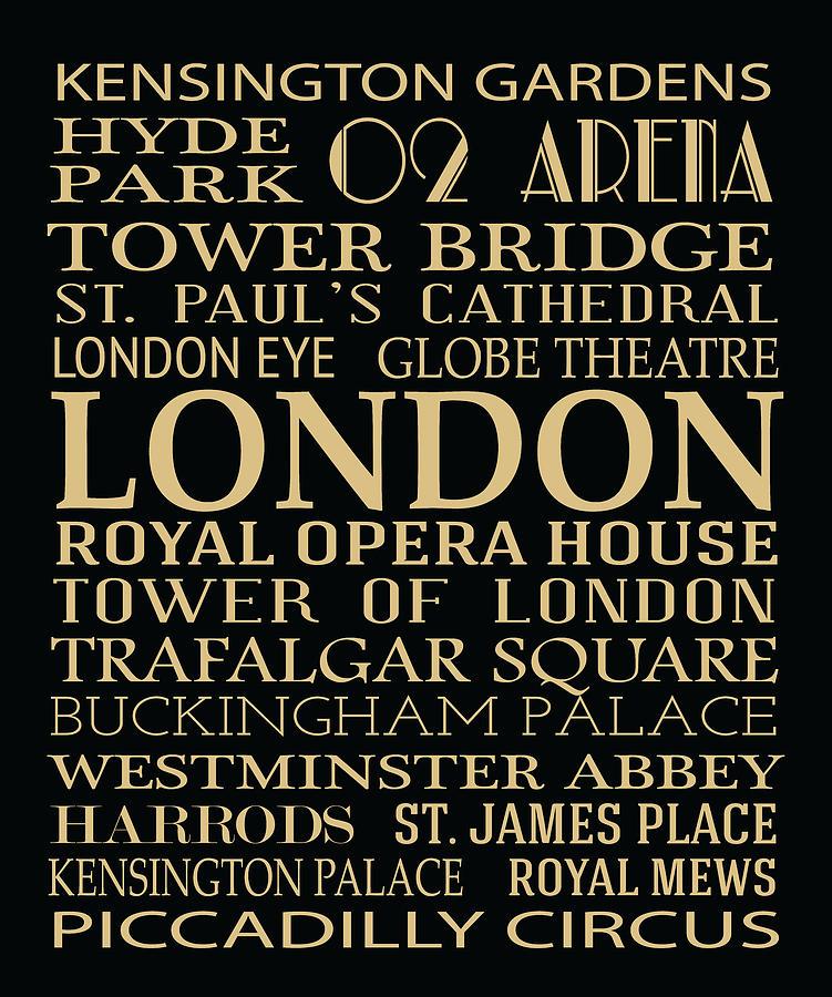 Typography Digital Art - London Attractions by Jaime Friedman