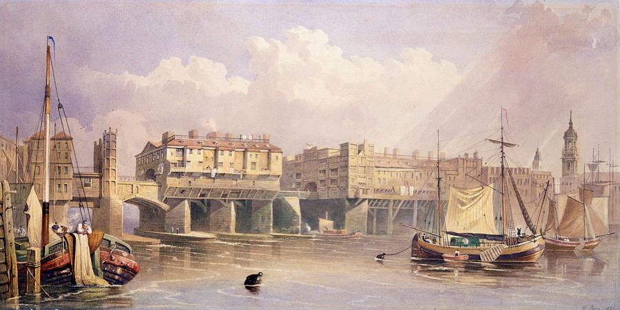 London Bridge Drawing - London Bridge, 1835 by George Pyne