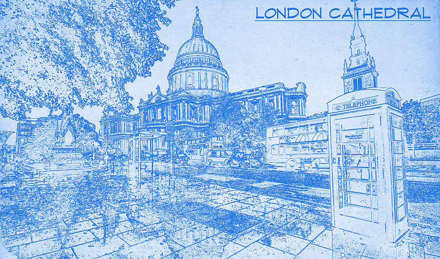 London cathedral blueprint drawing digital art by motionage designs painting digital art london cathedral blueprint drawing by motionage designs malvernweather Choice Image
