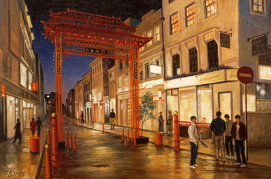 Landscape Painting - London Chinatown by Paul Krapf