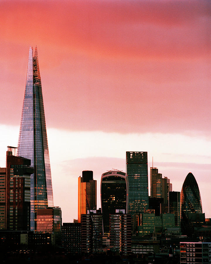London City Skyline At Sunset - Photograph by Shomos Uddin