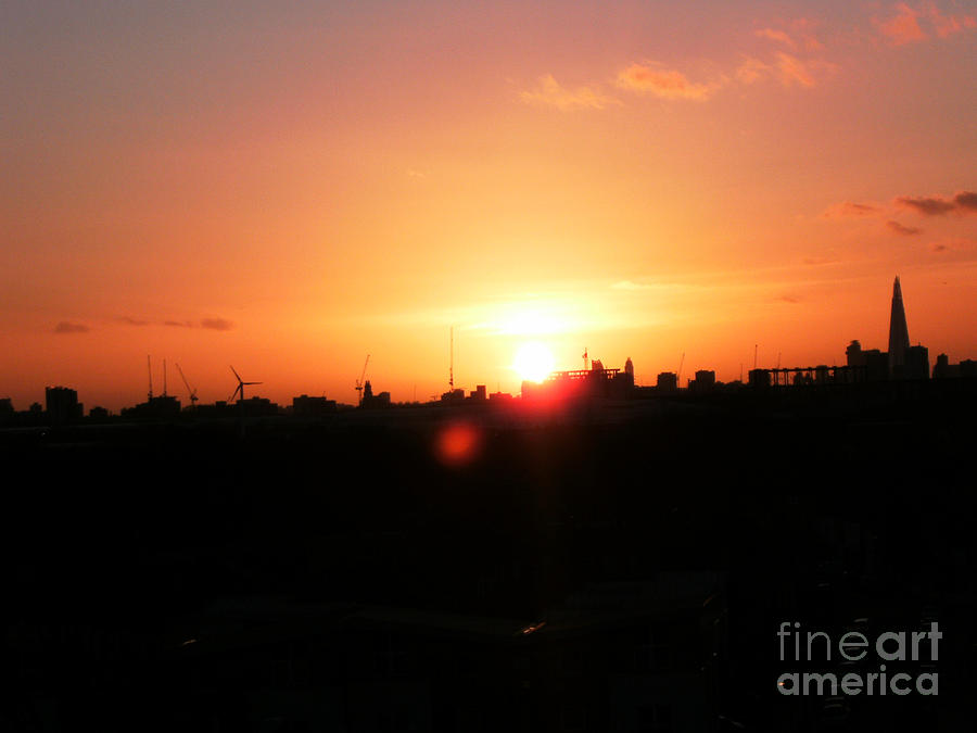 London Skyline Painting - London City Skyline From Plaistow by Mudiama Kammoh
