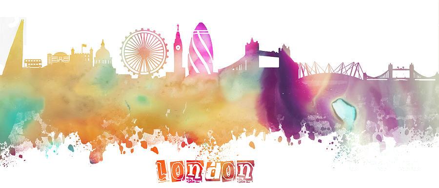 London Digital Art - London England Skyline pastel by Justyna Jaszke JBJart