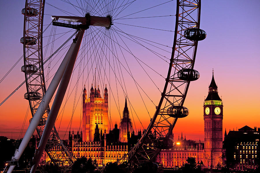 Majestic Photograph - London Eye And Big Ben At Dusk by Scott E Barbour