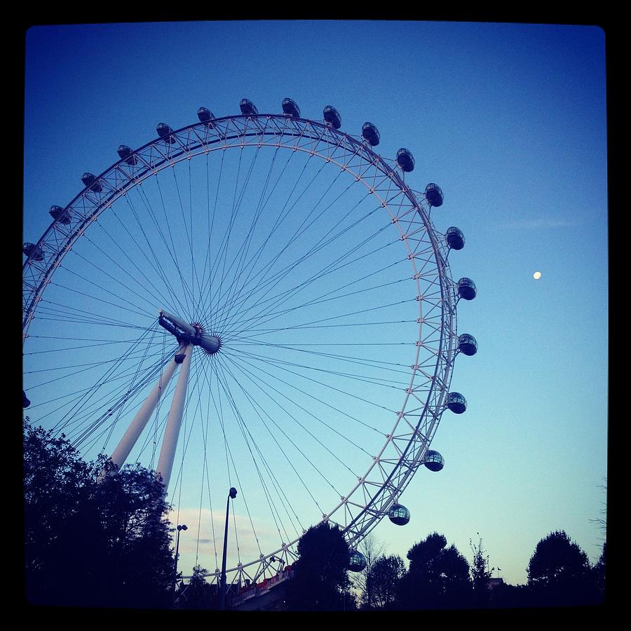 Horizontal Landscape Photograph - London Eye With Full Moon by Maeve O Connell