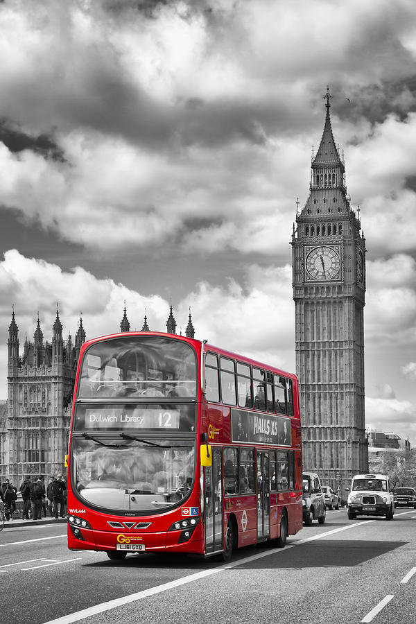 British Photograph - London - Houses Of Parliament And Red Bus by Melanie Viola
