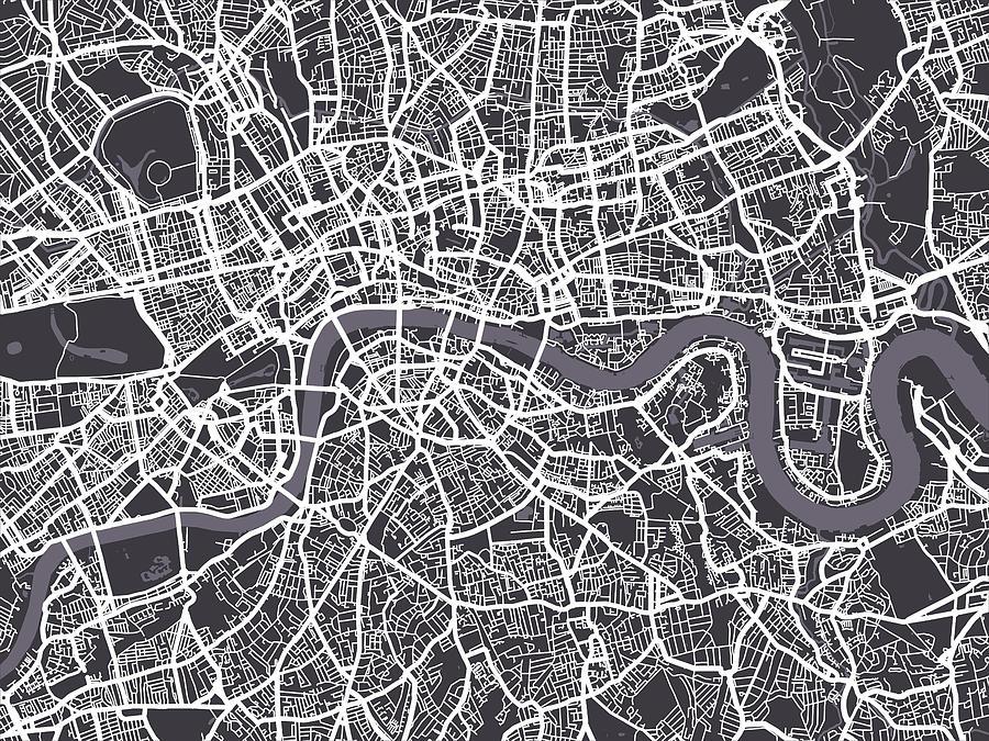 London Map Art Digital Art By Michael Tompsett