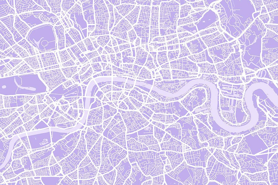 London Digital Art - London Map Lilac by Michael Tompsett