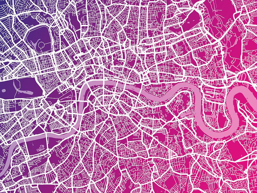 London Digital Art - London Map Red by Michael Tompsett