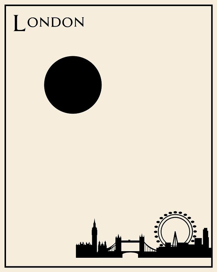 London minimalist travel poster digital art by finlay mcnevin for Minimal art gallery london