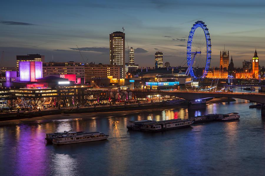 London Night Skylineto London Eye Photograph by Matthew Gibson