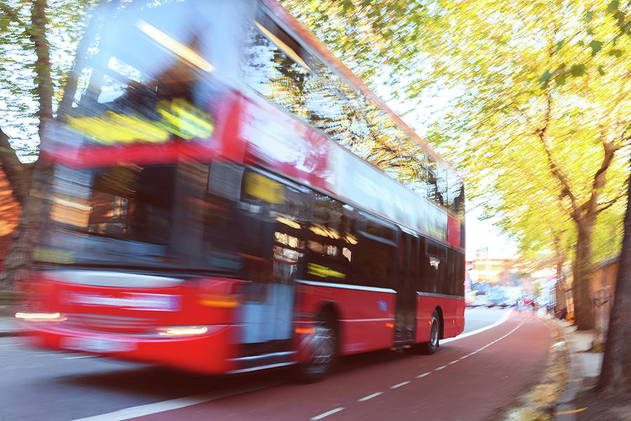 London Red Double Decker Bus Driving At Photograph by Pavliha