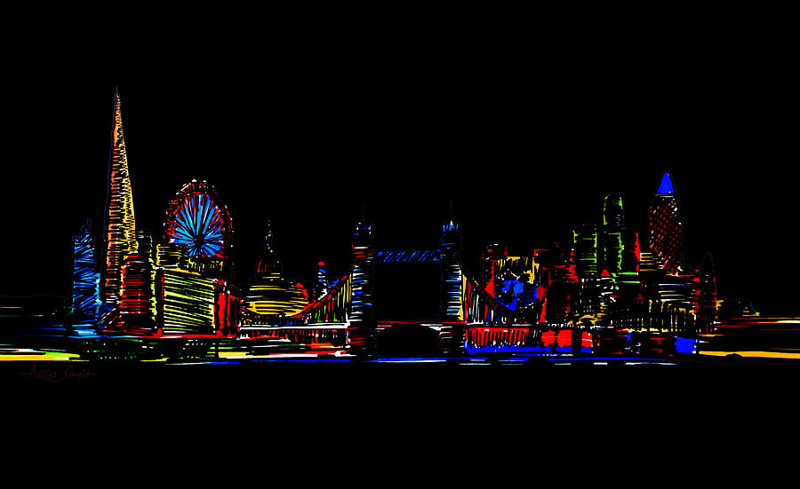 London Skyline At Night Painting By Artist Singh