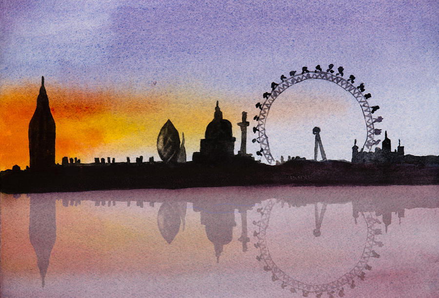 London Skyline At Sunset Painting By Donna Walsh