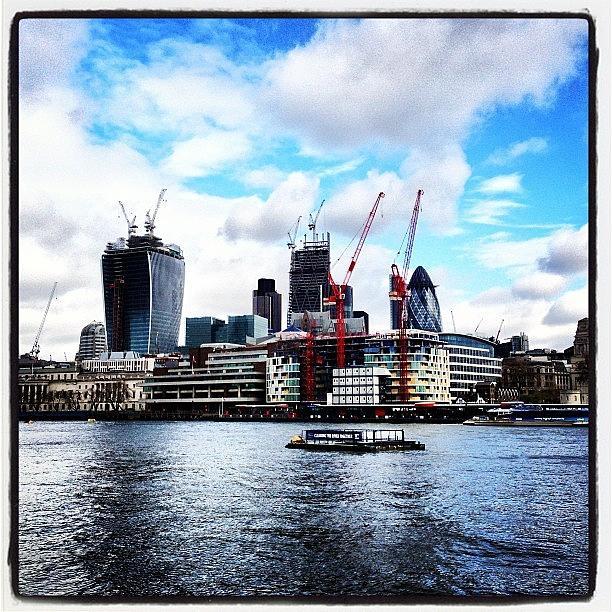 Skyline Photograph - #london #skyline #cloudporn #river by Mark Harris