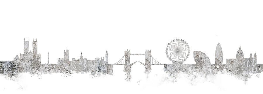 London Mixed Media - London Skyline England by Lila Shravani