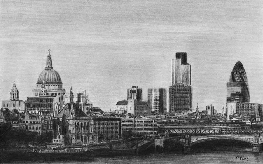 London drawing london skyline pencil drawing by david rives