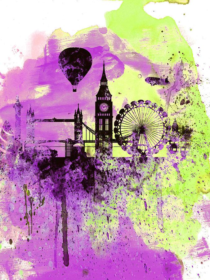 London Painting - London Skyline Watercolor 1 by Naxart Studio