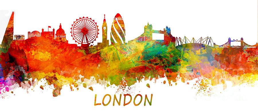 London Digital Art - London Skyline Watercolor by Justyna JBJart
