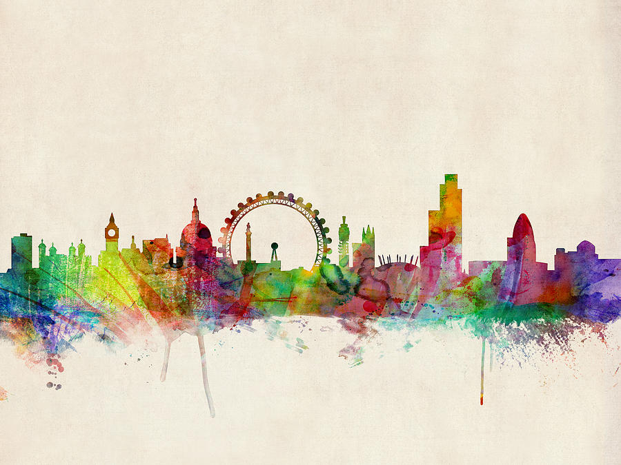 london skyline watercolour digital art by michael tompsett