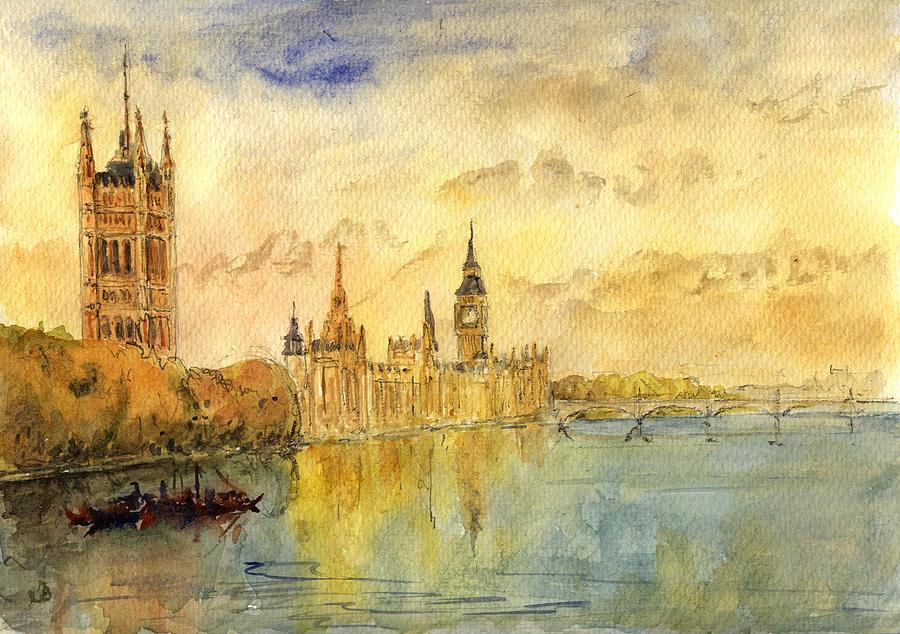 London Thames River Painting by Juan Bosco