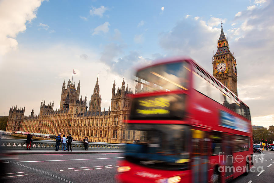 London Photograph - London The Uk Red Bus In Motion And Big Ben by Michal Bednarek
